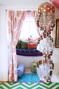 Whimsical bohemian style room, festival color, gypsy textures
