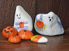 Ghosts, Pumpkins & Candy Corn Painted Rocks by Painted Rocks by Cindy Thomas, via Flickr
