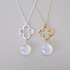 Moonstone Flower Necklace Gold Moonstone by tangerinejewelryshop