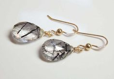 RUTILATED QUARTZ GEM STONE FACETED PEAR BRIOLETTE 14k GOLD FILLED DROP EARRINGS #DropDangle