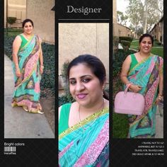 Designer saree in green Crepe material material in beautiful shades of green and pink . Comes with matching blouse and peticot (skirt ) to go with . Blouse can be altered in your size . Saree fits all sizes. 10 % discounts on bundles Fast shipper free gift with every purchase Top 10% seller No Paypal /trade Dresses