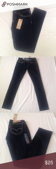 Levi Jeans (Never Worn) Low rise, dark blue skinny jeans in size 7  by Levi's. Never worn and still with tags! Levi's Jeans Skinny