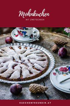 Rezept für einen flaumigen Kuchen mit Mohn, Mandeln und Zwetschken. Cereal, Sweets, Foodblogger, Post, Breakfast, Desserts, Recipes, Finger Food, Brunch Recipes