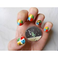 Geocaching nails! If I had nice nails I would so do this!