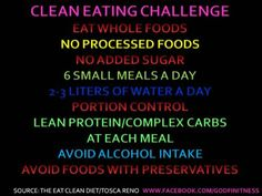 Clean Eating Challenge- Starting a Clean eating challenge on 4/23/12 through 4/30/12 to keep motivation going for healthy eating.  Feel free to visit the FB page if anyone wants to join in :)