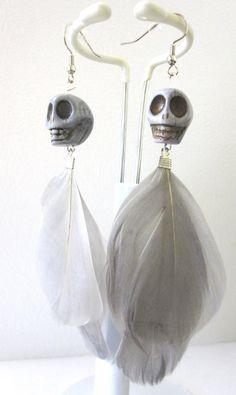 Skull Earrings Day of the Dead Earrings Gray by sweetie2sweetie, $10.99