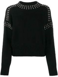 Black wool and nylon studded pullover jumper from Diesel featuring silver-tone stud detailing, a round neck, long sleeves and a fine knit. Black Diesel, Coats For Women, Sweaters For Women, Jumper Outfit, Studded Jacket, Evening Tops, Bear T Shirt, Cute Jackets, Embellished Top