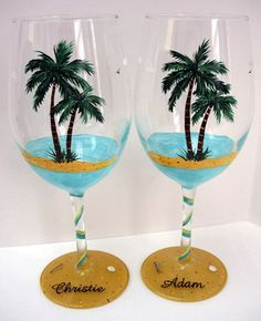 beach wine glass | Palm trees glass painting design, craft ideas for adults, unique table ...