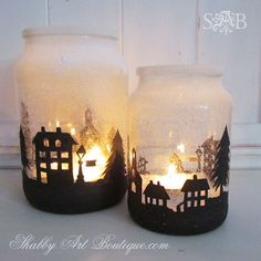 Mason Jar Christmas #wedding Tablescape Decor - Snowy Town Candle  Set a snowy scene by illuminating a stencil glued to the outside of jar & light up with a tea light candle.