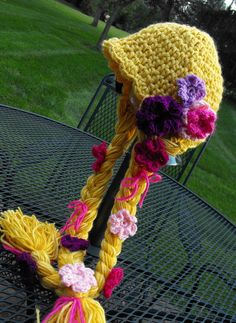 "RAPUNZEL   Character Crochet Hat - ""Tangled"" - Sizes 4-10 years"
