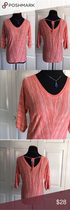 LOFT Lightweight Coral Sweater Coral marled lightweight sweater from loft. 3/4 sleeves. Open back with tie. Excellent condition, no flaws. Size XS. LOFT Sweaters