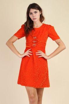 262683fbd01e9 vtg 60s ORANGE VELVET victorian BABYDOLL empire holiday party mod mini dress  S