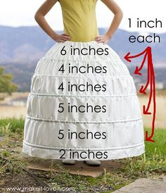 DIY Hoop skirt.  Use light cotton fabric and grosgrain ribbon for casings.  Feed in Pex pipe from plumbing section.  (Keep in mind for Marie Antoinette birthday party)
