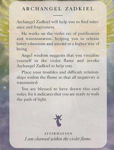 """Archangel Zadkiel"" -  Angel Card – Diana Cooper                                                                                                                                                                                 More"