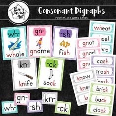 This is a collection of posters for teaching various consonant digraphs. These posters will provide your students with great visual aids. Also included are word cards and letter cards that you can use for your word wall or as flash cards. Blank pages are also provided.