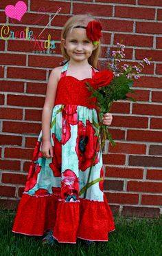 Peony's heartshaped bodice maxi dress PDF pattern from CKC, sizes 6-12 months up to size 8!