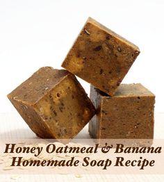 Homemade Soap Recipe - Handmade Honey, Oatmeal and Banana Cold Process Soap Recipe with Goat Milk: