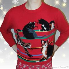 Christmas Cat Sweater.Ugly Christmas Cat Sweaters