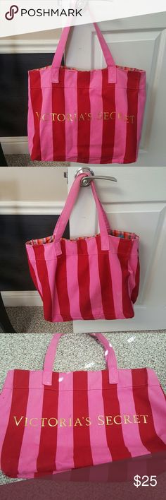 Victoria's Secret striped tote Signature Victoria's Secret striped tote. Pink & red stripe with gold lettering. Smaller striped interior. Great condition. Very durable fabric. Good size tote. Smoke free home. Awesome size for a beach bag. Victoria's Secret Bags Totes