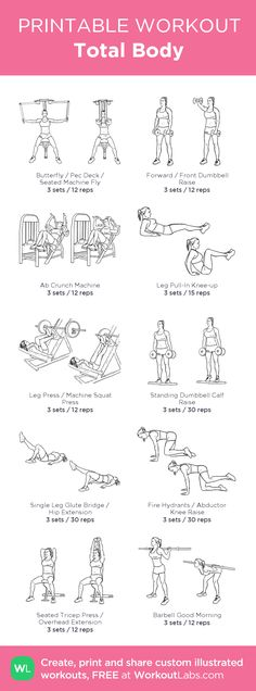 Total Body –my custom workout created at WorkoutLabs.com • Click through to download as printable PDF! #customworkout