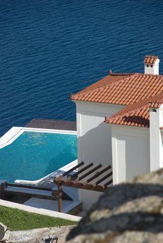 Luxury Homes, Estates & Properties Chios, Acropolis, Ancient Greece, Luxury Homes, Beach House, Villa, Island, Places, Outdoor Decor