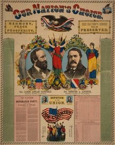 An 1880 campaign banner for Republican presidential and vice-presidential candidates James A. Garfield and Chester A. Arthur