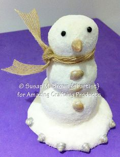 Sand Snowman Ornament Completed using Amazing Mold Putty and Amazing Casting Resin by Susan M. Brown