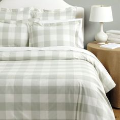 Gwyneth Buffalo Check Bedding Ballard Designs In Spa; would be nice with Ivory coverlet and burlap headboard