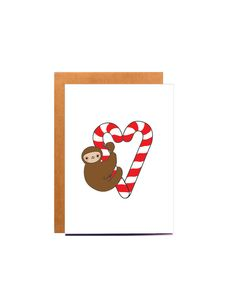 Sloth Christmas Card candy canes funny christmas card christmas card for boyfriend best friend christmas sloth illustration (4.99 AUD) by BeccyKittyDesigns