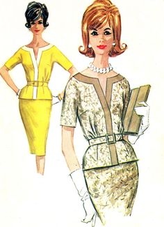 1960s Dress Pattern McCalls 6360 Two Piece V Neck Sheath Dress with Peplum Womens Vintage Sewing Pattern Bust 32 Uncut
