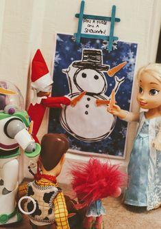 Elf on the Shelf Pin a Nose on a Snowman #Elfontheshelf