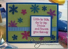 Blooming Friends Bead Masking Card.  Repin if you love www.PennywiseArts.com!  Ü