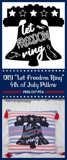 This free SVG cut file is such a cute way to add some patriotic flair to your decor for the of July! Silhouette Fonts, Silhouette Machine, Silhouette Cameo, Cricut Vinyl, Vinyl Decals, Fourth Of July Shirts, July 4th, Let Freedom Ring, 4th Of July Decorations