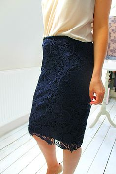 My new love – Navy Lace Navy Skirt Outfit, Navy Maxi Skirts, Maxi Skirt Outfits, Lace Maxi, Lace Skirt, Navy Lace Top, Cream Blouse, New Love, Skirt Fashion