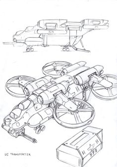 Union of Colonies Dragoon Quad-Fanrotor VTOL transporter by TugoDoomER