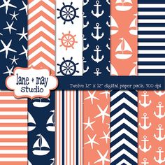 coral pink and navy blue nautical digital scrapbook by laneandmay, $7.00