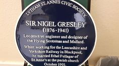 A blue plaque commemorating the man who designed the Flying Scotsman steam locomotive is to be placed at a Lancashire railway station Flying Scotsman, St Anne, Blackpool, Steam Locomotive, England, Victorian, Blue, English, British
