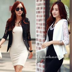 Womens Lace Casual Business Work One Button Blazer Short Jackets Suits Coat Tops #GZDL #SuitJacket #Business