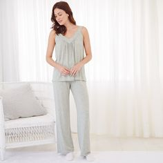 Swing Jersey Pyjama Set - Silver Grey Marl, SilverGreyMarl, XS