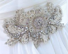 Ivory Beaded Bridal Sash-Wedding Sash With Crystals, Wedding Dress Sash, Bridal…