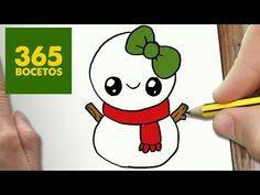 COMO DIBUJAR UN MUÑECO DE NIEVE PARA NAVIDAD PASO A PASO: Dibujos kawaii navideños - draw a SNOWMAN - YouTube