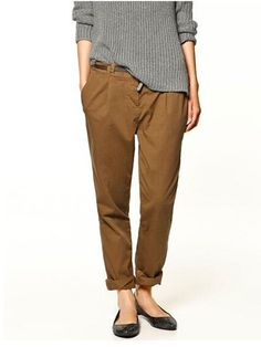 Dark tan chinos from Zara Tan Chinos, Brown Chinos, Black Chinos, Khaki Pants Outfit, Trouser Outfits, Black Dress Pants, Loose Pants, China, Cotton Pants