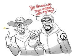 "overlord-balt: "" I bet Mccree would get himself into trouble just to watch Gabe…"