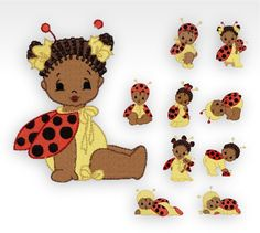 African Baby Machine Embroidery Designs - Baby Bugs - Set of 10 by CeciliasEmbroidery on Etsy https://www.etsy.com/listing/169754544/african-baby-machine-embroidery-designs