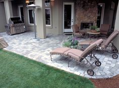Concrete paver patio with outdoor fireplace perfect patios c Concrete Paver Patio, Concrete Bricks, Backyard For Kids, Backyard Patio, Backyard Ideas, Cheap Storage Sheds, Simple Pool, Outdoor Living Areas, Outdoor Furniture Sets