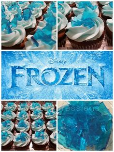 Disney Frozen Cupcakes topped with homemade candy!