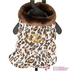 Manteau de Léopard pour Chiens Leo Chic - Nouveaux collection de manteaux pour les chiens: Manteau de Léopard Leo Chic, sans manches, avec un motif léopard et col en fausse fourrure