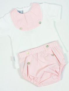 210650f36 Conjunto bebe niña con ranita y camiseta de algodón cuello babero estrellas  rosa. - Ropa