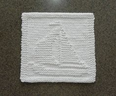 White SAILBOAT Wash Cloth or Knit Dishcloth   by AuntSusansCloset