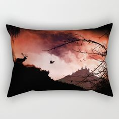 Dramatic cloudy scenery Rectangular Pillow  A deer came leaves the forest on the top of rock, watching the angry sky while some birds flying around a huge castle in the background. Photomontage of some of my own photos. The landscape and the sky is one pic, I added the castle and the animals.   Digital art, animals, silhouettes, bird, deer, elk bull, rock, nature, landscape, castle, clouds, cloudy, dark, red, white, neo-mystical